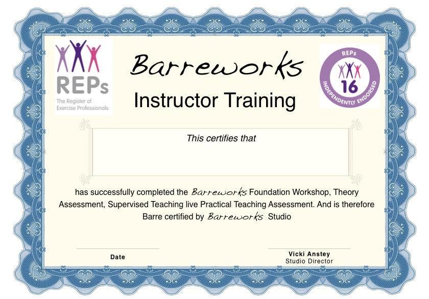 Instructor Training Barreworks Richmond London